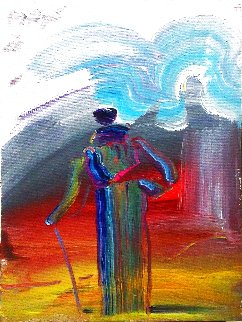 Sage With Cane 1988 16x12 Original Painting - Peter Max