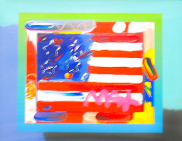 Flag With Heart on Blends Unique 2005 23x25 Works on Paper (not prints) - Peter Max