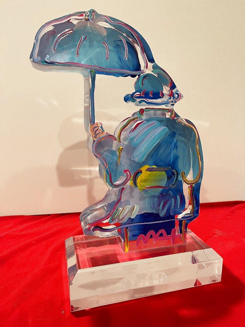 Umbrella Man Acrylic Sculpture Unique 2020 12 in Sculpture by Peter Max