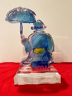 Umbrella Man Acrylic Sculpture Unique 2020 12 in Sculpture by Peter Max - 1