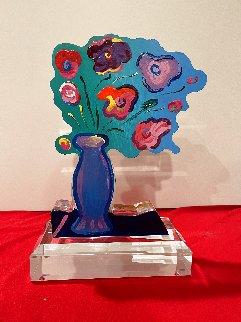 Vase of Flowers Acrylic Sculpture Unique 2018 12 in Sculpture - Peter Max