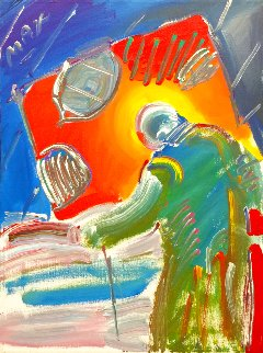 Sage With Cane 1990 24x18 Original Painting - Peter Max