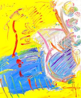 Blushing Beauty (Yellow) 1990 24x20 Original Painting - Peter Max