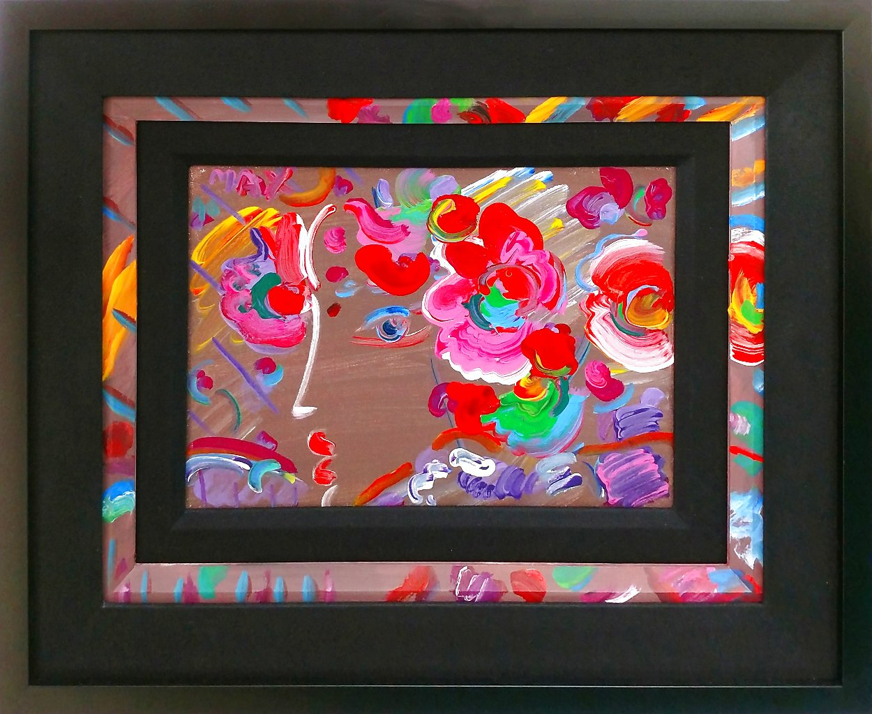 Profile With Flowers 1990 14x10 Original Painting by Peter Max