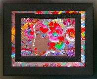 Profile With Flowers 1990 14x10 Original Painting by Peter Max - 0