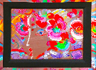 Profile With Flowers 1990 14x10 Original Painting by Peter Max - 1