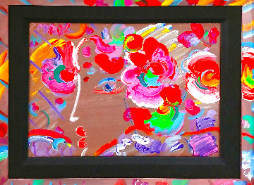 Profile With Flowers 1990 14x10 Original Painting - Peter Max