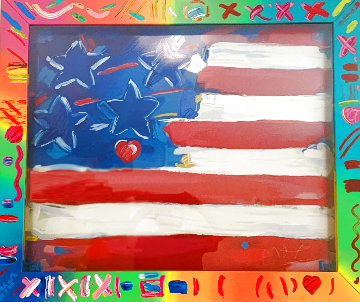American Flag With Heart 1989 Max Painted Frame Limited Edition Print - Peter Max