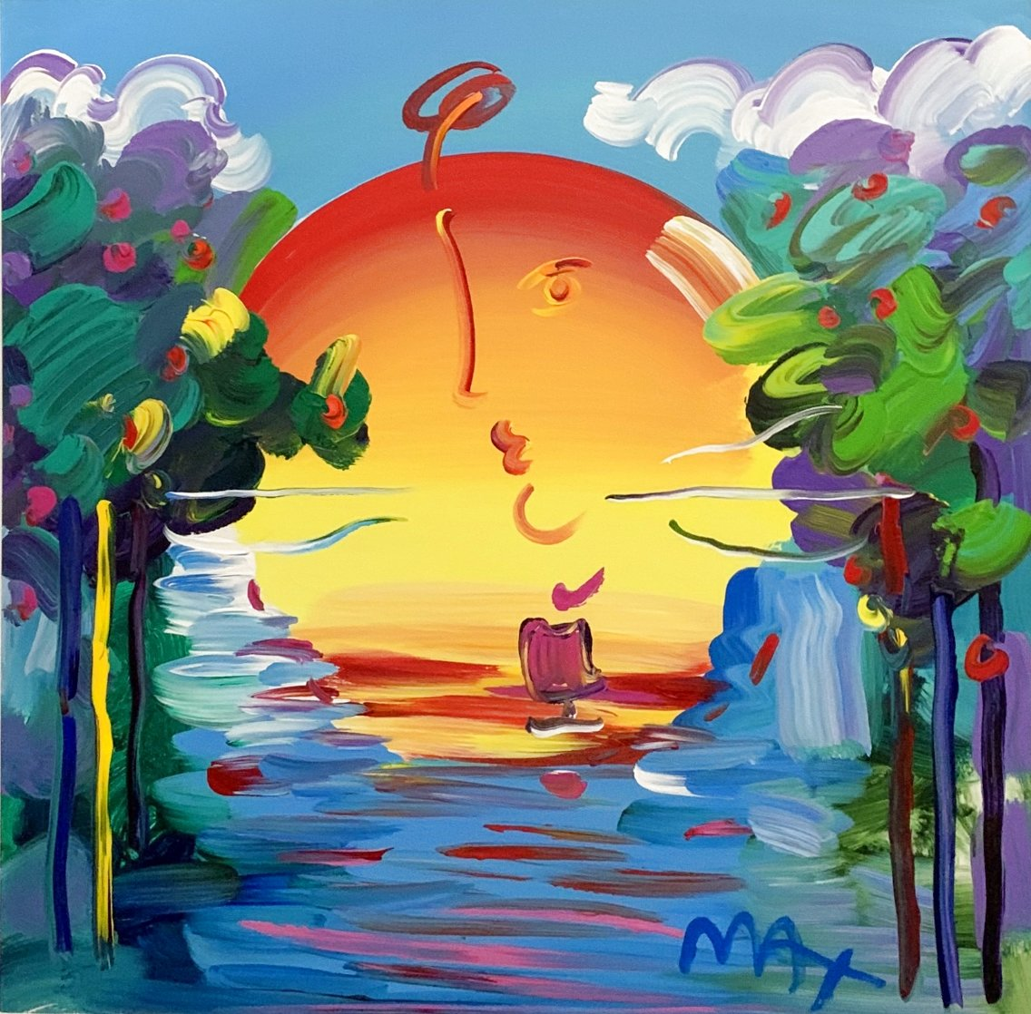 Better World Ver. XVIII Unique 2016 33x33 Original Painting by Peter Max