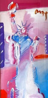 Statue of Liberty - Unique 2001 52x33 Huge Works on Paper (not prints) - Peter Max