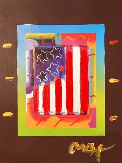 Flag With Hearts Unique 2005 28x24 Works on Paper (not prints) - Peter Max