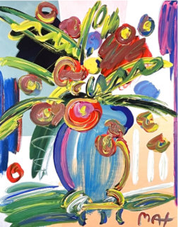 Flowers in Vase Unique 1996 30x26 Works on Paper (not prints) - Peter Max