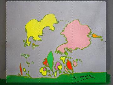 Hidden Profile II 1971 24x24 Original Painting - Peter Max