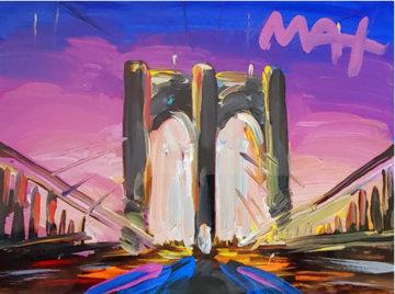Brooklyn Bridge I Unique 2018 24x27 Works on Paper (not prints) - Peter Max