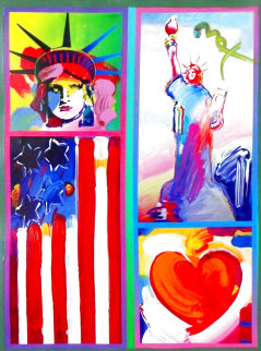 Patriotic Series: Two Liberties, Flag And Heart Unique  2006 28x32 Works on Paper (not prints) - Peter Max