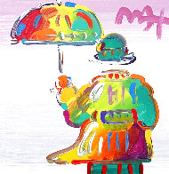 Umbrella Man 2017 12x12 Original Painting by Peter Max - 0