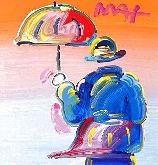 Umbrella Man 2017 12x12 Original Painting - Peter Max