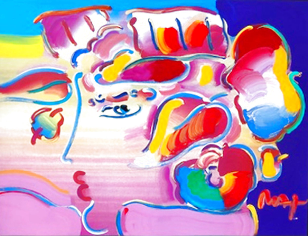Profile Series No. 7 Unique 2001 33x39 Works on Paper (not prints) by Peter Max