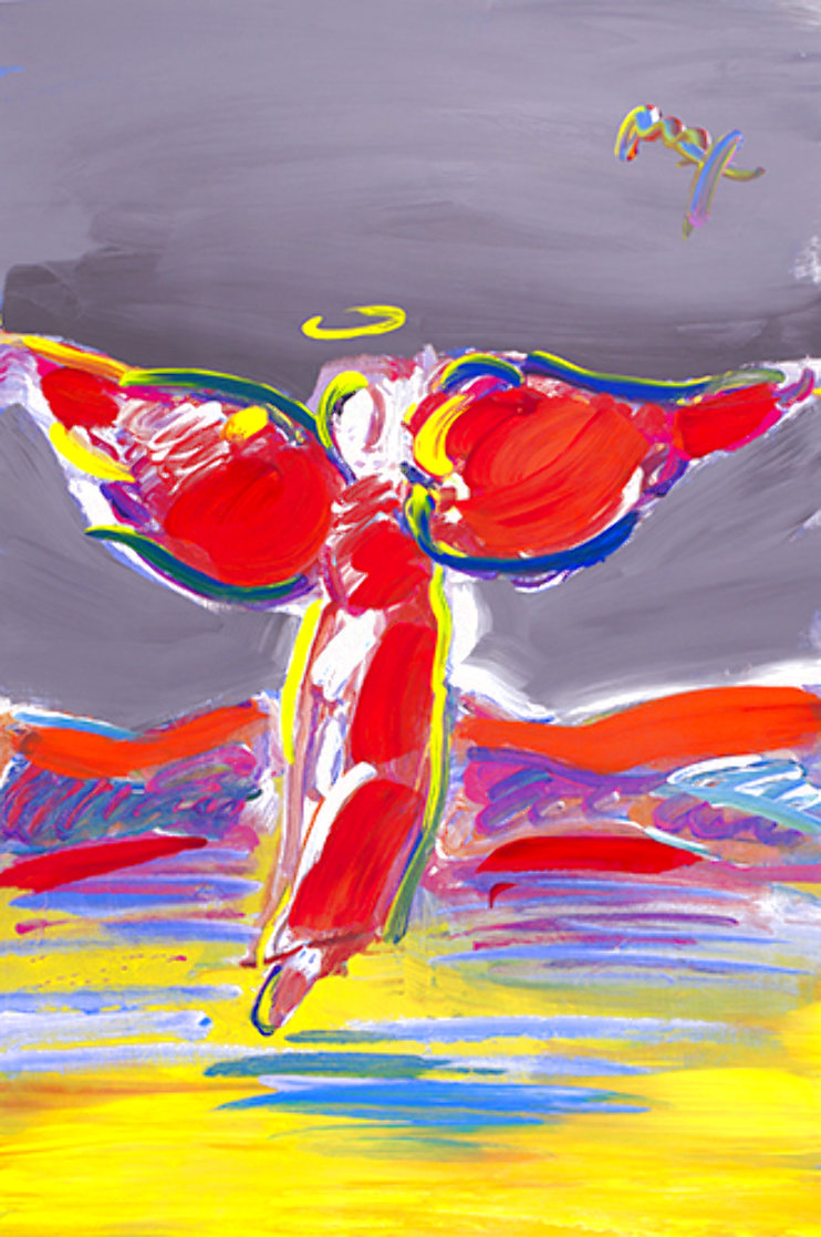 Ascending Angel 2007 Unique Poster, Embellished Works on Paper (not prints) by Peter Max