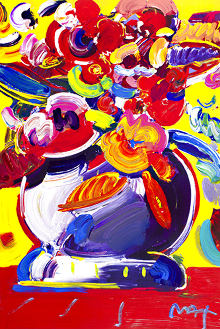 Flowers II 2008 Unique Poster Works on Paper (not prints) by Peter Max