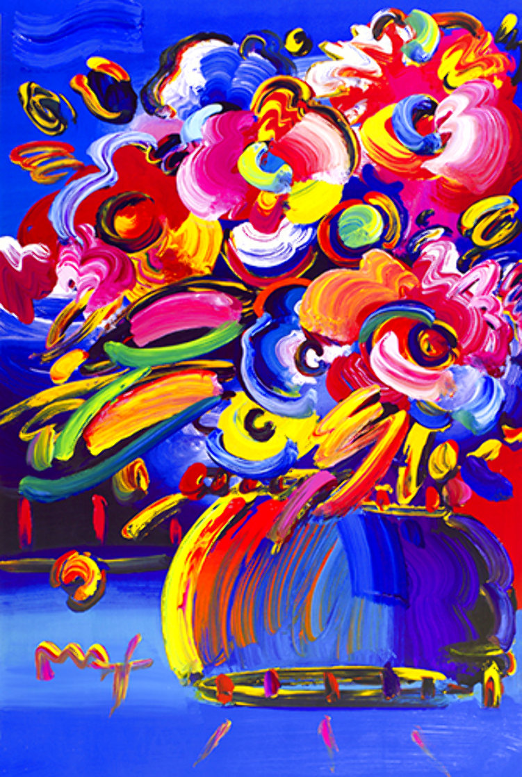 Flowers I (Blue) Unique Poster 2008   Works on Paper (not prints) by Peter Max