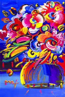 Flowers I (Blue) Unique Poster 2008   Works on Paper (not prints) - Peter Max