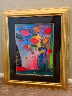 Flowers Unique 2002 36x31 Works on Paper (not prints) by Peter Max - 1
