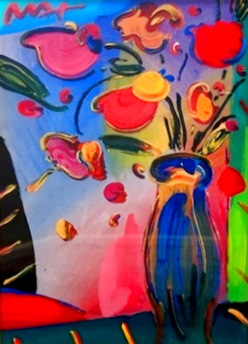 Flowers Unique 2002 36x31 Works on Paper (not prints) by Peter Max