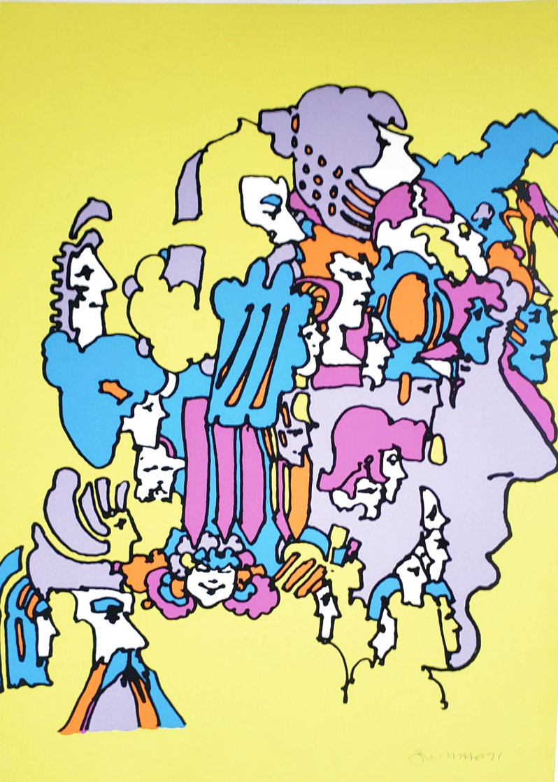 Past Incarnations 22x30 in 1971 Vintage Limited Edition Print by Peter Max