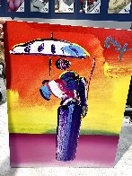 Sage With Umbrella And Cane 2004 42x36 Huge Works on Paper (not prints) by Peter Max - 2