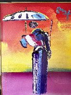 Sage With Umbrella And Cane 2004 42x36 Huge Works on Paper (not prints) by Peter Max - 4