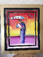 Sage With Umbrella And Cane 2004 42x36 Huge Works on Paper (not prints) by Peter Max - 1