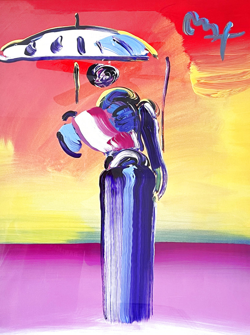 Sage With Umbrella And Cane 2004 42x36 Huge Works on Paper (not prints) by Peter Max