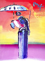 Sage With Umbrella And Cane 2004 42x36 Huge Works on Paper (not prints) by Peter Max - 0
