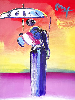 Sage With Umbrella And Cane 2004 42x36 Huge Works on Paper (not prints) - Peter Max