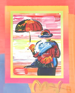Umbrella Man on Blends Unique 2005 10x8 Works on Paper (not prints) - Peter Max