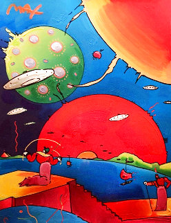Year of 2250 Unique 1996 47x40 w Drawing - Signed Twice Works on Paper (not prints) - Peter Max