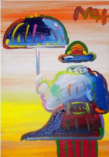 Umbrella Man on Blend  Unique 2015 12x9 Original Painting - Peter Max