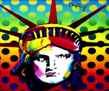 Liberty Head Version 2 2004 24x24 Original Painting - Peter Max