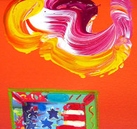 American Flag 2006 10x8 Works on Paper (not prints) by Peter Max - 2