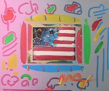 Flag with Heart Unique 12x14 Works on Paper (not prints) by Peter Max