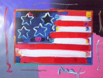 Flag With Heart 1999 Unique 18x24 Works on Paper (not prints) by Peter Max