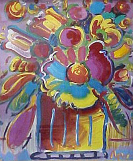 Flowers Unique 2001 27x22 Works on Paper (not prints) by Peter Max