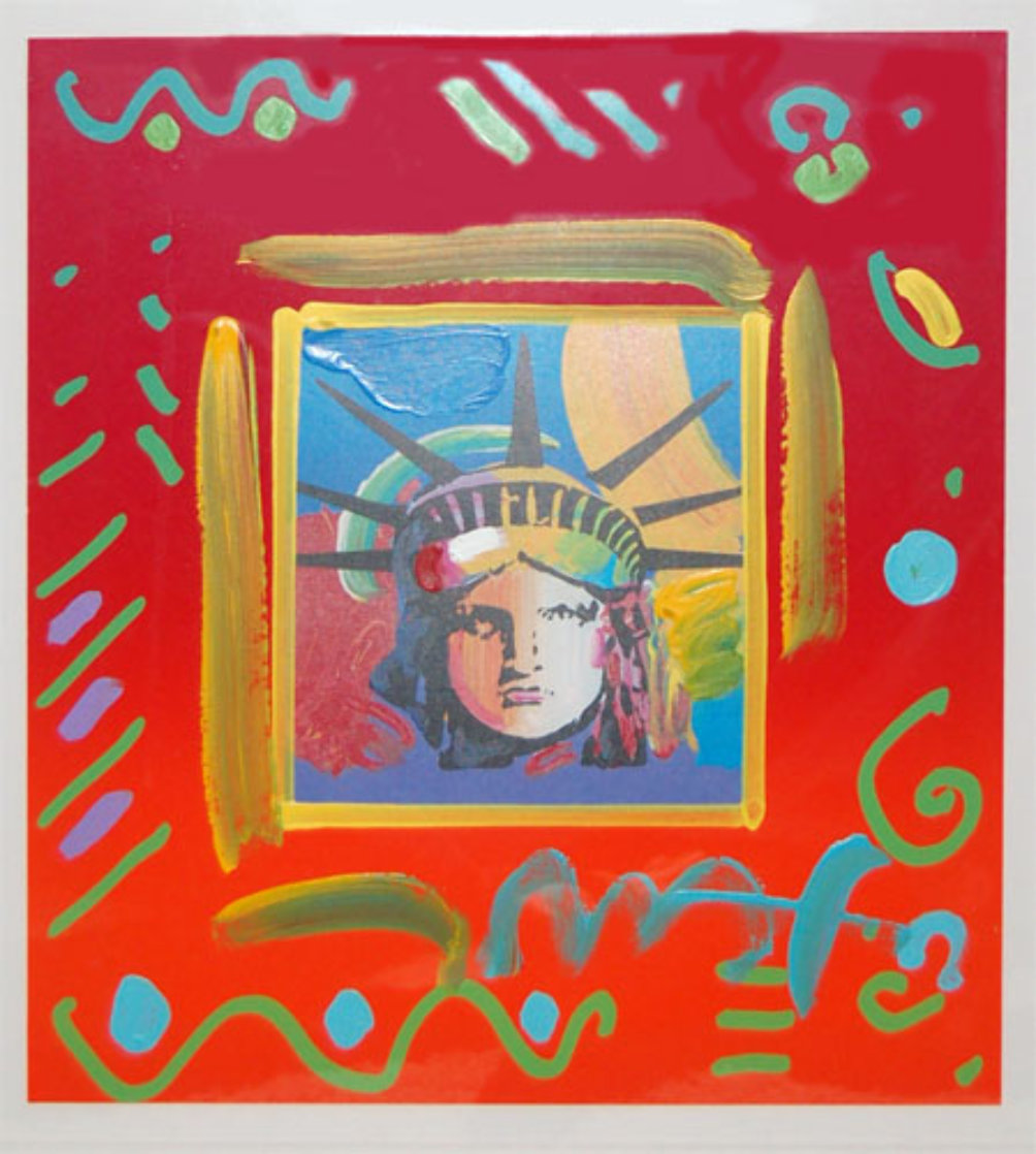Liberty Head II Collage Unique Works on Paper (not prints) by Peter Max
