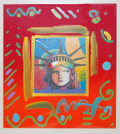 Liberty Head II Collage Unique Works on Paper (not prints) by Peter Max - 0