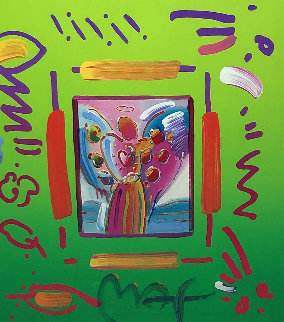 Angel With Heart Collage Ver II Unique 2007 27x25 Works on Paper (not prints) by Peter Max