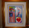 Patriot Series Two Liberties  Unique 19x15 Works on Paper (not prints) by Peter Max - 1