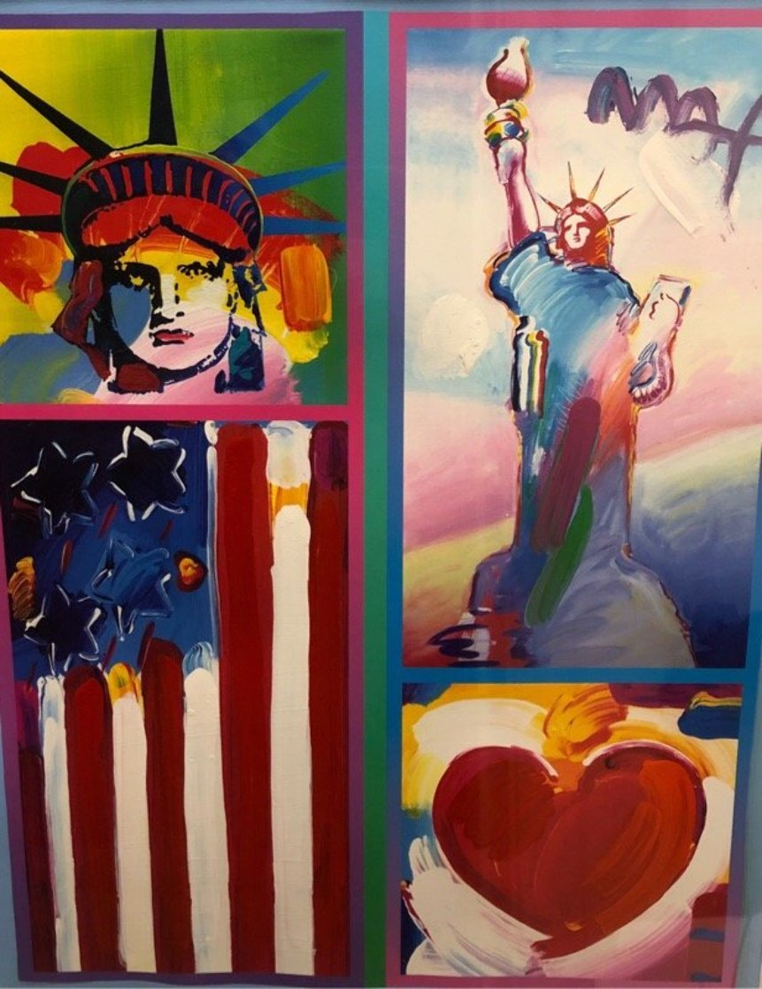 Patriot Series Two Liberties  Unique 19x15 Works on Paper (not prints) by Peter Max