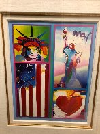 Patriot Series Two Liberties  Unique 19x15 Works on Paper (not prints) by Peter Max - 2
