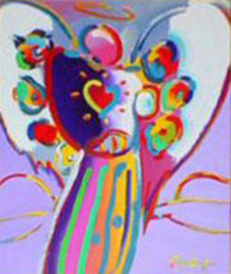 Angel with Heart on Blue 2000 Limited Edition Print by Peter Max